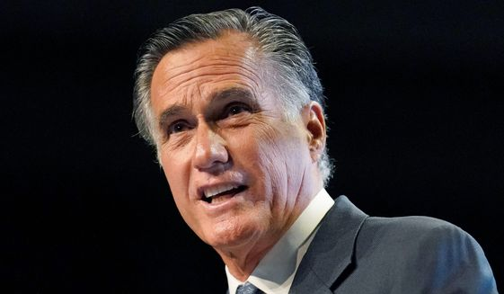 Sen. Mitt Romney was booed by the audience during the Utah Republican Party 2021 Organizing Convention on Saturday. (Associated Press)