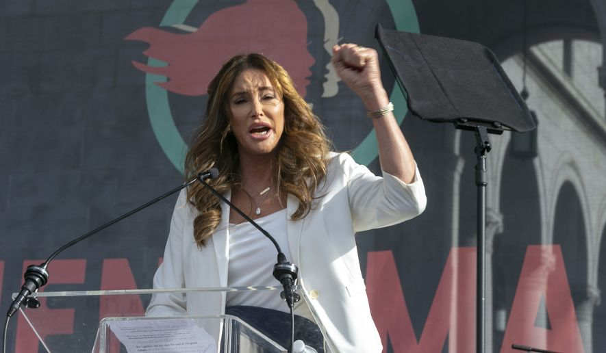 In this Jan. 18, 2020, file photo, Caitlyn Jenner speaks at the 4th Women's March in Los Angeles. Former Olympian Jenner is running for governor of California.(AP Photo/Damian Dovarganes, File)