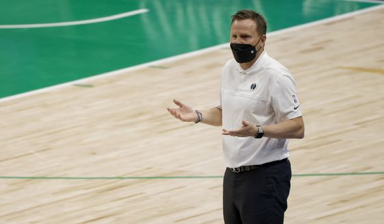 Washington Wizards head coach Scott Brooks gestures as his team plays the Dallas Mavericks during the second half of an NBA basketball game Saturday, May 1, 2021, in Dallas. (AP Photo/Ron Jenkins)