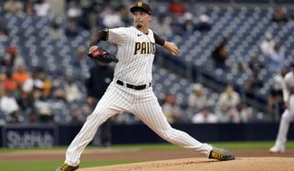 San Diego Padres starting pitcher Blake Snell works against a San Francisco Giants batter during the first inning of a baseball game Saturday, May 1, 2021, in San Diego. (AP Photo/Gregory Bull)