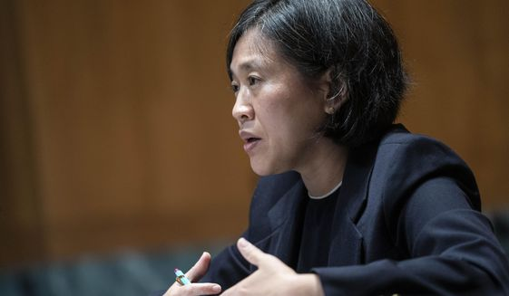 In this file photo, U.S. Trade Representative Katherine Tai testifies during a Senate hearing on the proposed budget for fiscal year 2022 for the Office of the U.S. Trade Representative on Capitol Hill on Wednesday, April 28, 2021, in Washington. (Sarah Silbiger/Pool via AP) ** FILE **