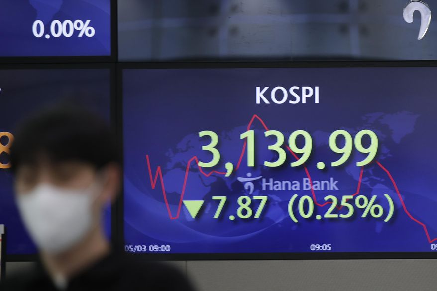 A currency trader walks by a screen showing the Korea Composite Stock Price Index (KOSPI) at a bank's foreign exchange dealing room in Seoul, South Korea, Monday, May 3, 2021. Shares were mostly lower in Asia in thin trading Monday, with many markets including those in Tokyo and Shanghai closed for holidays. (AP Photo/Lee Jin-man)