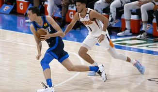 Oklahoma City Thunder forward Aleksej Pokusevski (17) goes against Phoenix Suns guard Devin Booker (1) during the first half of an NBA basketball game, Sunday, May 2, 2021, in Oklahoma City. (AP Photo/Garett Fisbeck)