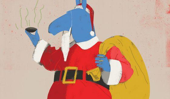 Dem Donkey Biden Santa Claus Illustration by Linas Garsys/The Washington Times