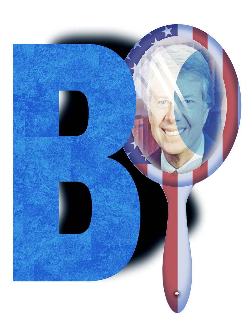 Illustration on comparisons between Joe Biden and Jimmy Carter by Alexander Hunter/The Washington Times