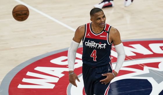Washington Wizards guard Russell Westbrook (4) reacts during a break in the second half of a basketball game against the Indiana Pacers, Monday, May 3, 2021, in Washington. (AP Photo/Alex Brandon) **FILE**