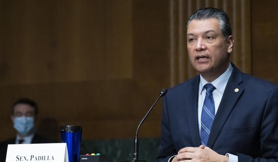 FILE - In this March 16, 2021, file photo, Sen. Alex Padilla, D-Calif., speaks during a hearing of the Senate Health, Education, Labor and Pensions Committee on Capitol Hill, in Washington. Padilla on Monday, May 3, 2021, proposed a vast expansion of government protection for public lands and rivers that he said would fight climate change and safeguard natural treasures for generations to come. (AP Photo/Alex Brandon, File)