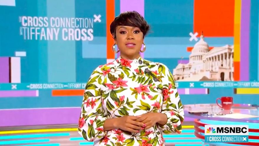 """MSNBC host Tiffany Cross on Saturday denigrated Republican Sen. Tim Scott as the Republican Party's """"token"""" Black man and """"tap dancer"""" who is """"thirsty for White approval."""" (Screengrab via MNSBC)"""