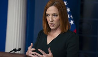 White House press secretary Jen Psaki speaks during a briefing at the White House, Tuesday, May 4, 2021, in Washington. (AP Photo/Evan Vucci) ** FILE **