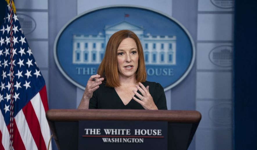 White House press secretary Jen Psaki speaks during a briefing at the White House, Tuesday, May 4, 2021, in Washington. (AP Photo/Evan Vucci)  **FILE**