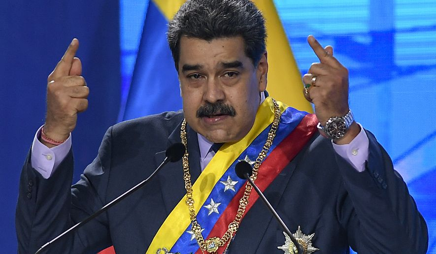 In this Jan. 22, 2021, file photo, Venezuelan President Nicolas Maduro speaks during a ceremony marking the start of the judicial year at the Supreme Court, in Caracas, Venezuela. (AP Photo/Matias Delacroix, File)