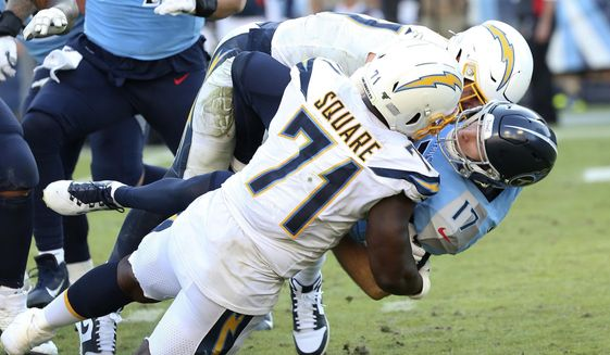 FILE - Tennessee Titans quarterback Ryan Tannehill (17) is sacked and fumbles from hits by Los Angeles Chargers defenders Joey Bosa and Damion Square (71) during an NFL football game in N ashville, Tenn., in this Sunday, Oct. 20, 2019, file photo. The Browns bulked up their defensive line Tuesday, May 4, 2021, signing veteran tackle Damion Square. Square spent the past seven seasons with the Los Angeles Chargers. The 32-year-old hasn't missed a game the past four seasons. (AP Photo/Michael Zito, File)