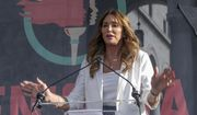 Caitlyn Jenner speaks at the fourth Women's March in Los Angeles. (AP Photo/Damian Dovarganes, File)