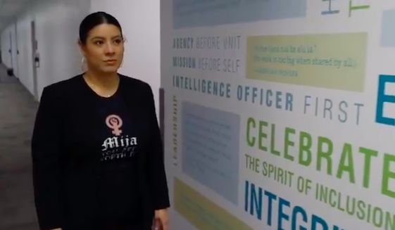 """Anew recruitment video from the Central Intelligence Agency is being mocked online by conservatives as being too """"woke"""" after it featured a Latina American officer who described herself as """"cisgender"""" and """"intersectional."""" (Screengrab via YouTube/@Central Intelligence Agency)"""