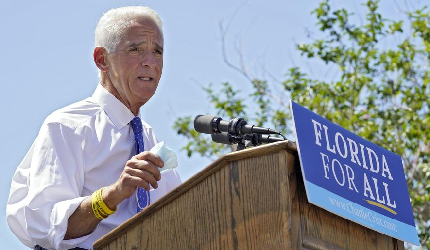 U.S. Rep. Charlie Crist, D-St. Petersburg, gestures during a campaign rally as he announces his run for Florida governor Tuesday, May 4, 2021, in St. Petersburg, Fla. (AP Photo/Chris O'Meara)