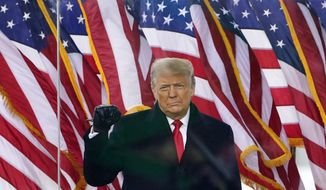 In this Jan. 6, 2021, photo, President Donald Trump arrives to speak at a rally in Washington. (AP Photo/Jacquelyn Martin) ** FILE **