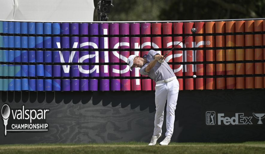 Justin Thomas tees off on the 18th hole during the final round of the Valspar Championship golf tournament, Sunday, May 2, 2021, in Palm Harbor, Fla. (AP Photo/Phelan M. Ebenhack)