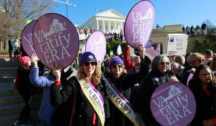This week Illinois, Nevada and Virginia asked a federal appeals court to order the Equal Rights Amendment be considered ratified. They have all approved the amendment in the last four years. However, the original deadline set by Congress expired in 1979. (Associated Press)