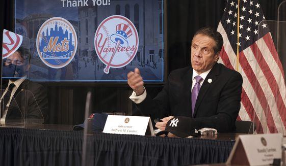 New York Gov. Andrew Cuomo speaks a news conference, Wednesday, May 5, 2021, in New York. (Spencer Platt/Pool Photo via AP)