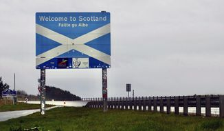 The Scottish side of the border between Scotland and England at Berwick-Upon-Tweed, Scotland, Tuesday, May 4, 2021. Scotland holds an election Thursday that could hasten the breakup of the United Kingdom. The pro-independence Scottish National Party is leading in the polls and a big victory will give it the the moral right and the political momentum to hold a referendum on whether Scotland should end its three-century union with England. But many voters, even if they support independence, are cautious. (AP Photo/Renee Graham)
