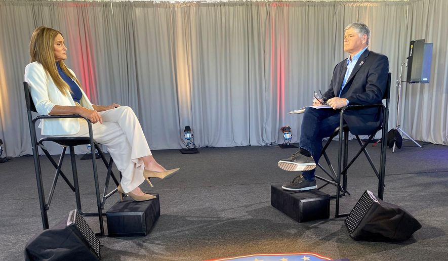 In this image provided by Fox News Channel, Caitlyn Jenner is interviewed by Fox News host Sean Hannity, Wednesday, May 5, 2021,  in Malibu, Calif. The 71-year-old Jenner  —  who won the men's Olympic decathlon in 1976 and decades later became a reality TV star and transgender woman — announced her candidacy for California governor about two weeks ago in a written statement on Twitter. (Fox News Channel via AP)