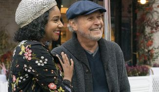 """This image released by Sony Pictures shows Tiffany Haddish, left, and Billy Crystal in a scene from """"Here Today."""" (Cara Howe/Sony Pictures via AP)"""