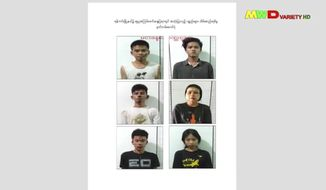 This image from an April 18, 2021 news report by Myawaddy TV shows people who security forces said they detained in a weapons raid a day earlier in the Yankin township of Yangon, Myanmar. At least3,500 people have been detained since the military seized power in the country in February 2021, more than three-quarters of whom are male, according to an analysis of data collected by the Assistance Association for Political Prisoners, which monitors deaths and arrests. Ofthe 419 men whose ages were recorded in the group's database, nearly two-thirds are under age 30, and 78 are teenagers. (Myawaddy TV via AP)
