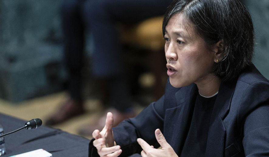 In this April 28, 2021, file photo, U.S. Trade Representative Katherine Tai testifies during a Senate Appropriations subcommittee on Commerce, Justice, Science, and Related Agencies hearing on Capitol Hill in Washington. (Sarah Silbiger/Pool via AP, File)