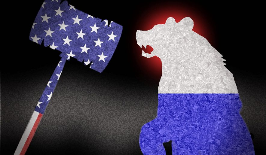 Illustration on court-based remedies against Putin's and Russia's misbehavior by Alexander Hunter/The Washington Times