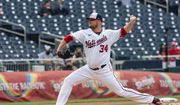 Washington Nationals' starting pitcher Jon Lester (34) throws during the first inning of a baseball game against the Atlanta Braves in Washington, Thursday, May 6, 2021. (AP Photo/Manuel Balce Ceneta)