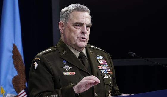 Chairman of the Joint Chiefs of Staff Gen. Mark Milley speaks during a briefing at the Pentagon in Washington, Thursday, May 6, 2021. (AP Photo/Susan Walsh)  **FILE**