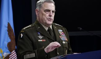 Chairman of the Joint Chiefs of Staff Gen. Mark Milley speaks during a briefing at the Pentagon in Washington, Thursday, May 6, 2021. (AP Photo/Susan Walsh)