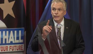 Democratic candidate for Governor of Virginia former Gov., Terry McAuliffe answers a question during a debate held in Bristol, Va., on Thursday, May 6, 2021. (David Crigger/Bristol Herald Courier via AP)