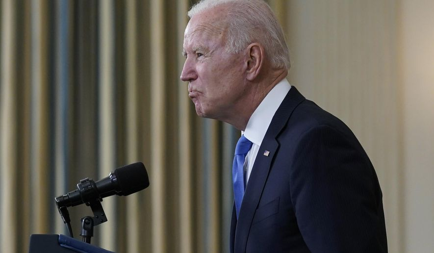 President Joe Biden takes questions from reporters as he speaks about the American Rescue Plan, in the State Dining Room of the White House, Wednesday, May 5, 2021, in Washington. (AP Photo/Evan Vucci)