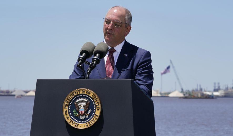 In the file photo, Louisiana Gov. John Bel Edwards speaks Thursday, May 6, 2021, in Lake Charles, La. (AP Photo/Alex Brandon) **FILE**