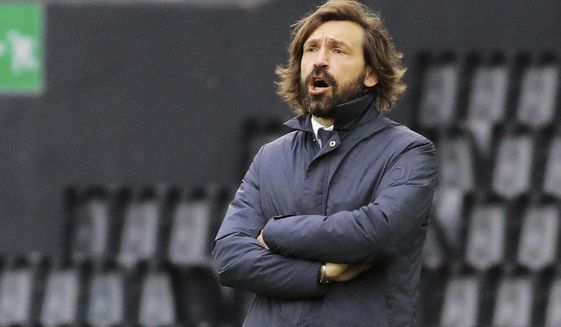 Juventus coach Andrea Pirlo shouts instructions during the Italian Serie A soccer match between Udinese and Juventus at the Dacia Arena stadium in Udine, Italy, Sunday, May 2, 2021. (Andrea Bressanutti/LaPresse via AP)