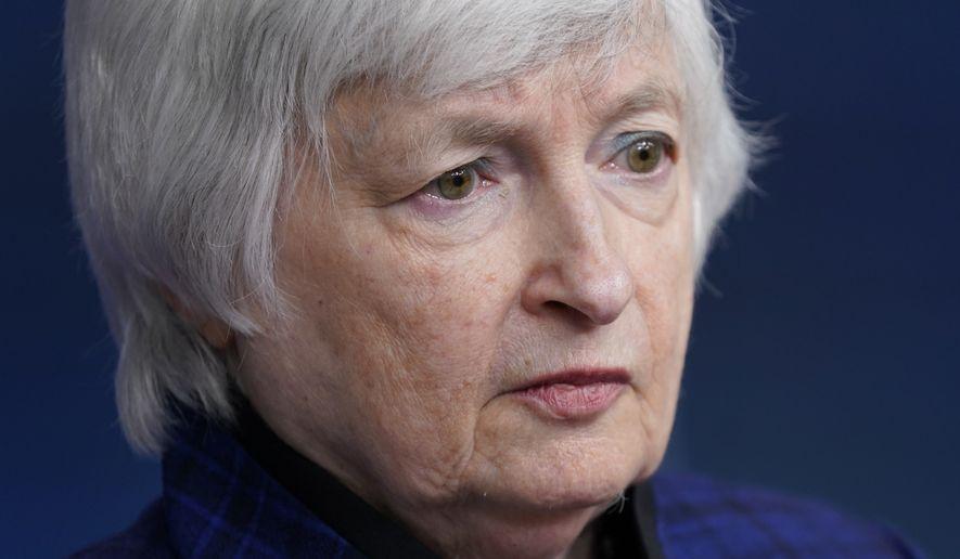 Treasury Secretary Janet Yellen speaks during a press briefing at the White House, Friday, May 7, 2021, in Washington. (AP Photo/Patrick Semansky)