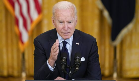 President Joe Biden speaks about the April jobs report in the East Room of the White House, Friday, May 7, 2021, in Washington. (AP Photo/Patrick Semansky)