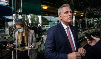 In this May 4, 2021, photo, House Minority Leader Kevin McCarthy, of Calif., speaks to a reporter outside a diner in Marietta, Ga. McCarthy and other Republicans decried Major League Baseball's decision to move the All-Star game out of Georgia amid concerns about changes to the state's voting laws. McCarthy is leading his party to an inflection point. House Republicans are preparing to dump Rep. Liz Cheney from the No. 3 leadership position. If so, McCarthy will have transformed what's left of the party of Lincoln more decisively into the party of Trump. (AP Photo/Ron Harris, File)