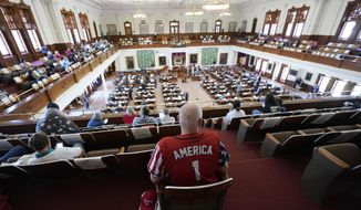 Gerald Welty sits in the House Chamber at the Texas Capitol as he waits to hear debate on voter legislation in Austin, Texas, Thursday, May 6, 2021. (AP Photo/Eric Gay) ** FILE **