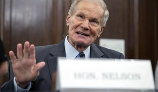 FILE - In this Wednesday, April 21, 2021 file photo, former U.S. Sen. Bill Nelson, nominee for administrator of NASA, speaks during a Senate Committee on Commerce, Science, and Transportation confirmation hearing, on Capitol Hill in Washington.  In his first news interview since becoming NASA's top official this week, Nelson told The Associated Press on Friday, May 7 that measuring the climate and diversifying the workforce are top issues. Nelson hedged on whether the U.S. can put astronauts on the moon by 2024.  (Saul Loeb/Pool via AP)