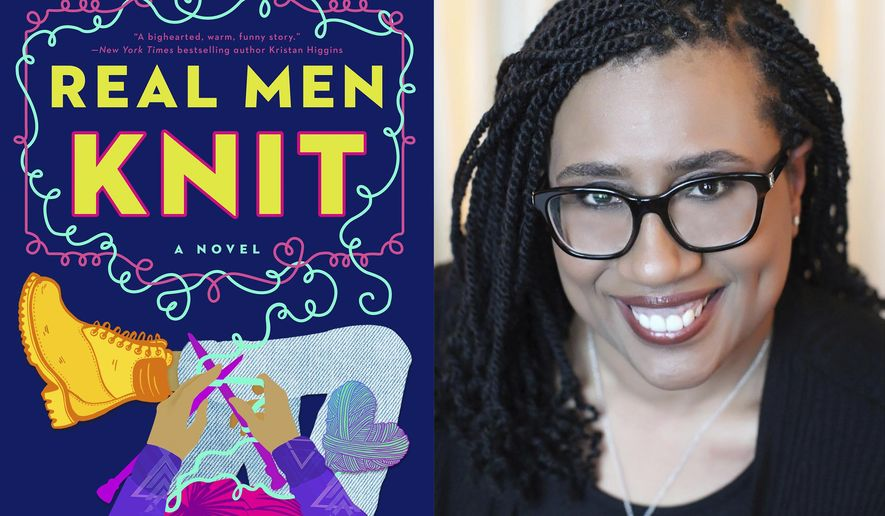 """This combination photo shows cover art for """"Real Men Knit,"""" left, and a portrait of author Kwana Jackson. Her 2020 novel about four brothers in New York's Harlem was optioned by a production company for a potential TV series. What Jackson calls a dream come true is a pragmatic reflection of the unprecedented number of TV outlets in need of shows and growing pressure for inclusive fare — a one-two punch creating opportunities for overlooked writers and ignored perspectives. (Berkley, left, and Colleeen Katana via AP)"""