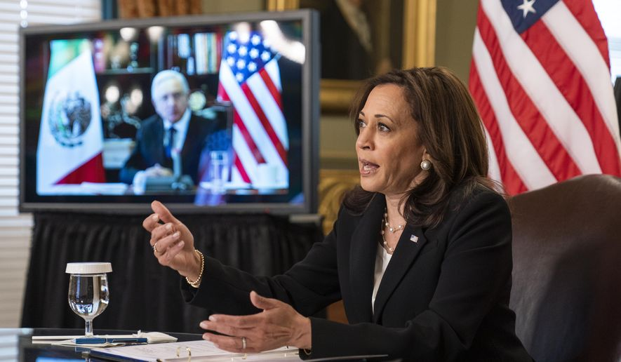 Vice President Kamala Harris speaks during a virtual meeting with Mexican President Andres Manuel Lopez Obrador at the Eisenhower Executive Office Building on the White House complex in Washington on Friday, May 7, 2021. (AP Photo/Manuel Balce Ceneta) **FILE**