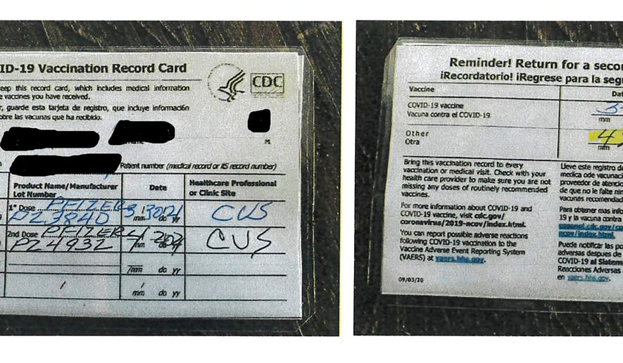 This undated photo provided by the California Department of Alcoholic Beverage Control shows a fraudulent COVID-19 vaccination card. A Northern California bar owner was arrested on suspicion of selling fake COVID-19 vaccination cards to several undercover state agents for $20 each. After receiving a tip, undercover agents with the California Department of Alcoholic Beverage Control went to Old Corner Saloon in the city of Clements several times in April and bought fake laminated vaccination cards, officials said. (California Department of Alcoholic Beverage Control via AP) ** FILE **