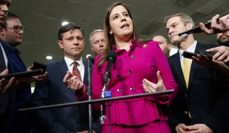 In this Jan. 23, 2020, photo, Rep. Elise Stefanik, R-N.Y., center, accompanied by from left, Rep. Mike Johnson, R-La., Rep. Mark Meadows, R-N.C., Rep. Lee Zeldin, R-N.Y. and Rep. Jim Jordan, R-Ohio, speaks to the media before the impeachment trial of President Donald Trump on Capitol Hill in Washington. (AP Photo/ Jacquelyn Martin) ** FILE **