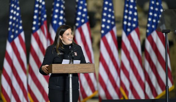 In this Jan. 17, 2021, file photo  Rep. Elise Stefanik, R-N.Y., introduces Vice President Mike Pence and second lady Karen Pence to speak to Army 10th Mountain Division soldiers in Fort Drum, N.Y.  (AP Photo/Adrian Kraus, File)  **FILE**