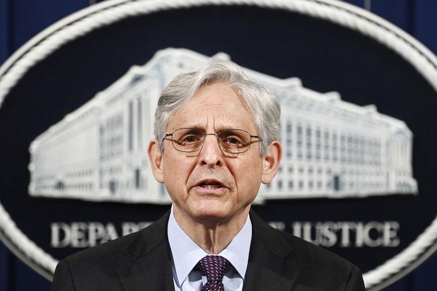 In this April 26, 2021, file photo Attorney General Merrick Garland speaks at the Department of Justice in Washington. (Mandel Ngan/Pool via AP)