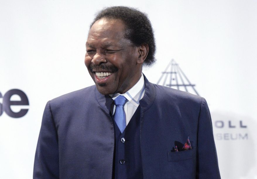 """This March 14, 2011, file photo, shows Lloyd Price appears backstage at the Rock and Roll Hall of Fame induction ceremony, in New York. The New Orleans mainstay and Rock and Roll Hall of Famer has died. Price was known for such hits as """"Lawdy Miss Clawdy"""" and """"Stagger Lee."""" His wife Jackie said he died Monday, May 3, 2021, in New Rochelle, N.Y. (AP Photo, File)"""