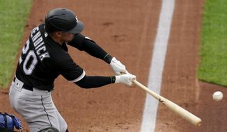 Chicago White Sox's Danny Mendick hits a two-run home run during the first inning of a baseball game against the Kansas City Royals Saturday, May 8, 2021, in Kansas City, Mo. (AP Photo/Charlie Riedel)