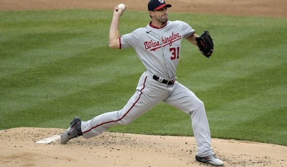 Washington Nationals starting pitcher Max Scherzer delivers the ball to the New York Yankees during the first inning of a baseball game Saturday, May 8, 2021, at Yankee Stadium in New York. (AP Photo/Bill Kostroun)